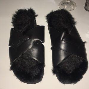slip on faux fur sandal